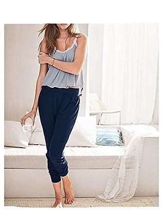 Victorias Secret Ribbed Tank Top and Jogger Sleep Pajamas Set Lace Trim Size M
