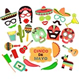 Easonove DIY Mexican Photo Booth Props Kit for Weddings, Photo Shoots & Special Events Party Favors Decorations 29PCS