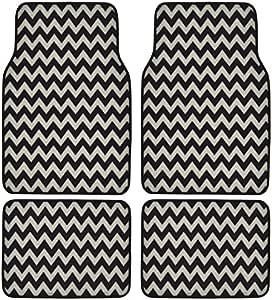 BDK USA Line Design (Chevron/Zigzag) Carpet Floor Mats (White)