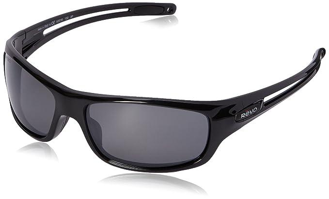 revo sunglasses a3ux  Revo Guide S RE 4070 01 GY Polarized Wrap Sunglasses, Black/Graphite, 63