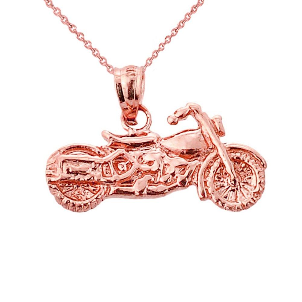 Fine 10k Rose Gold Motorcycle Charm Pendant Necklace