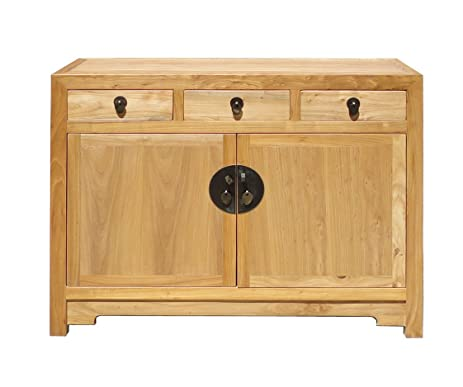 Fine Finish Raw Wood Console Side Table Cabinet Storage Amh232