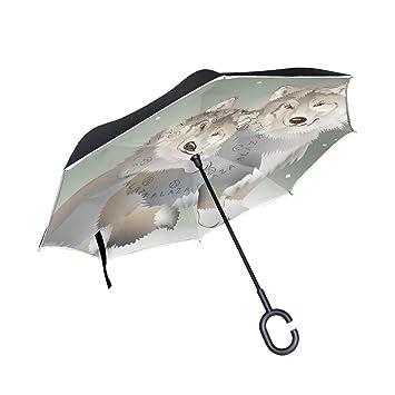 BENNIGIRY Paraguas invertido con Diseño de Lobo y Pareja – Reverso Plegable en el Interior hacia