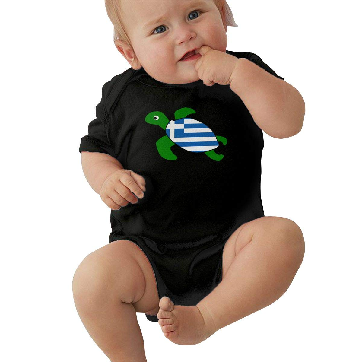 Baby Boys Sea Turtle Greece Greek Flag Short Sleeve Climbing Clothes Playsuit Suit 6-24 Months