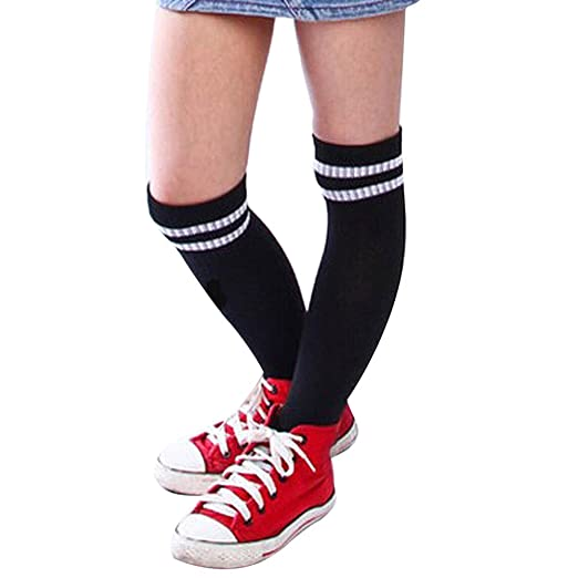 43b12eb0 2018 Hot! Soccer Socks,Fashion Womens Striped Football Long Sock Over Knee  Baseball Hockey