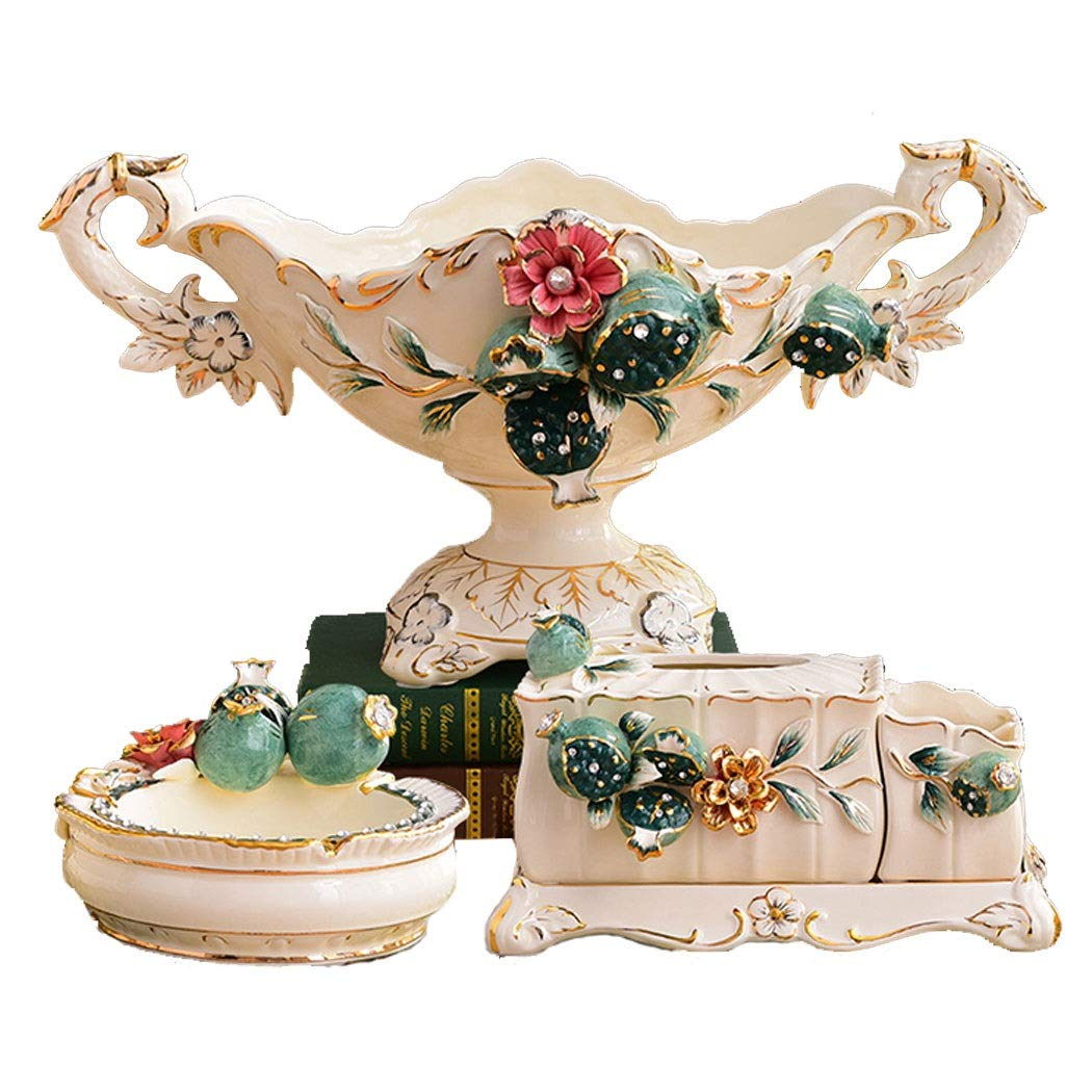 European Ceramic Fruit Plate Set Living Room Home Creative Luxury High-grade Fruit Plate Three-piece Coffee Table Decoration Ornaments (fruit Plate Tissue Box Ashtray) ( color : White , Size : S )
