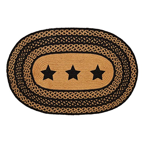 VHC Brands Classic Country Primitive Flooring - Farmhouse Jute Black Stenciled Stars Rug, 2' x 3' (Black Oval Braided Rug)