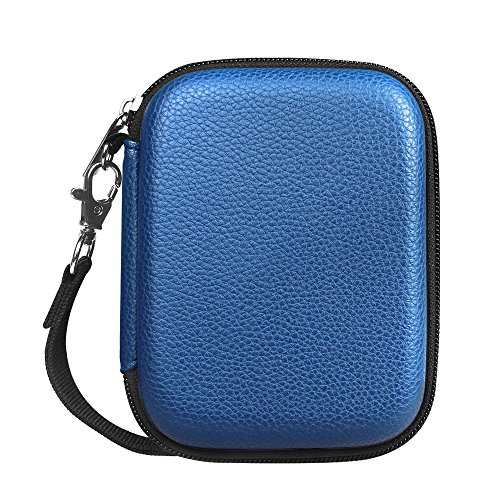 Fintie PU Leather Coated Hard EVA Shockproof Carrying Case for WD My Passport, Toshiba Canvio Basics, Seagate Backup Plus Slim, Canvio Connect, Samsung T3 SSD 2.5 inch External Hard Drive, Navy