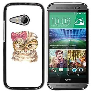 Be Good Phone Accessory // Dura Cáscara cubierta Protectora Caso Carcasa Funda de Protección para HTC ONE MINI 2 / M8 MINI // Cat Funny Glasses Bow Pink Owl Art