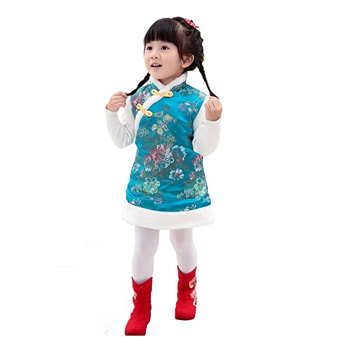 1f17d4c73bd Hooyi Winter Chinese Style Girl Dress Cotton Sleeveless Kids Cheongsam Baby  Girls Qipao  Amazon.co.uk  Clothing