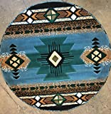 Southwest Native American Round Area Rug Blue Design #C318 (6ft7in.X6ft7in. Round)
