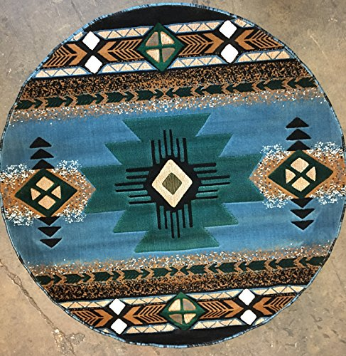 Southwest Native American Round Area Rug Blue Design #C318 (6ft7in.X6ft7in. Round) by Concord Global Trading