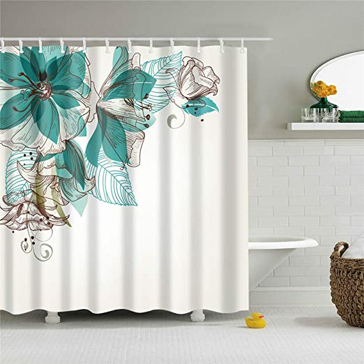 "Polyester Microfiber Waterproof Shower Curtain With Hooks 71/""x71/"""