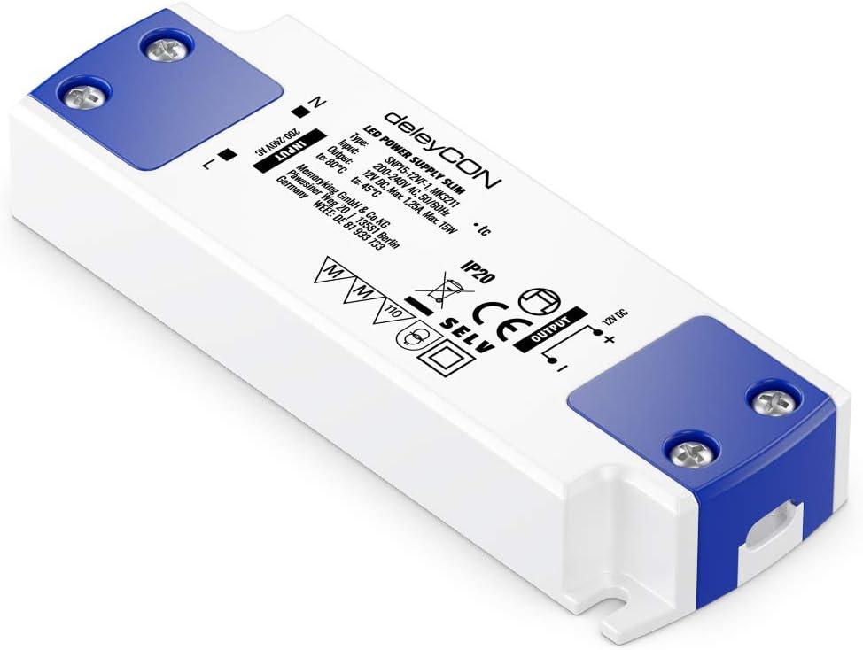 deleyCON 12V LED Trafo Transformator Netzteil Slim 0-20W 200-240V zu 12V DC LED Lampen Lichtstreifen G4 MR11 MR16 Leuchten /Überladung /Überhitzung