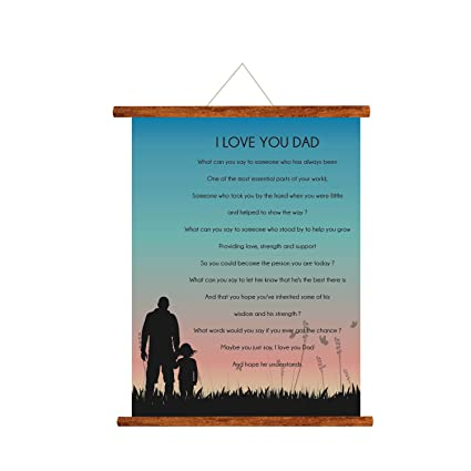 YaYa Cafe Fathers Day Greeting Cards I Love You Dad Message Scroll Card For Wall Hanging Decor