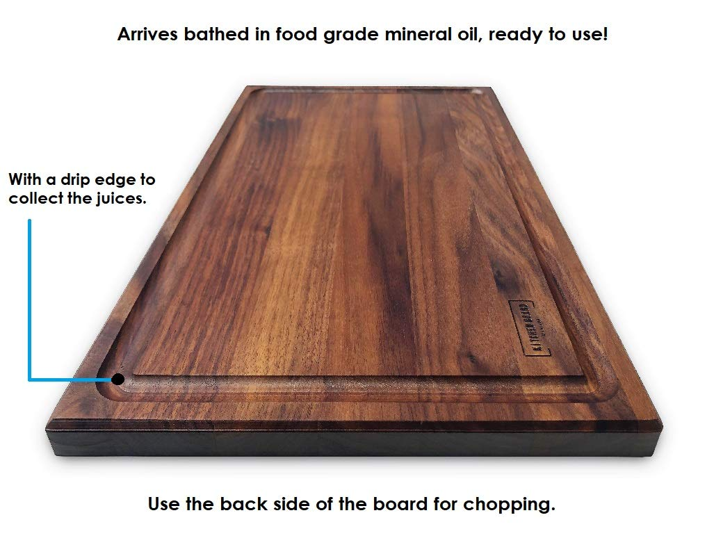Walnut Wooden Cutting Board by Kitchen Board Maniacs - 16 x 10 1/2 Walnut Wood Cutting Board and Butcher Block Counter top with Juice Drip Groove by Kitchen Board Maniacs (Image #1)