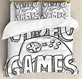 Boy's Room Queen Size Duvet Cover Set by Lunarable, Doodle Style Video Games Typography Design with a Controller Sketch Artwork, Decorative 3 Piece Bedding Set with 2 Pillow Shams, Black White