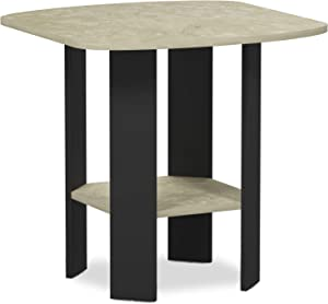 FURINNO Simple Design End/SideTable, 1-Pack, Cream Faux Marble/Black