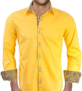 product image for Bright Yellow with Grey Contrast Designer Dress Shirts - Made in USA