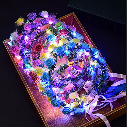 Price comparison product image 10 -Pack LED Light up Rose Flower Fairy Wreath Crown Garland Headband Halo Floral Headpiece Wedding Festival Party Hair Decoration Adjustable band Make up Headdress (Color 2-10pcs mixed color)