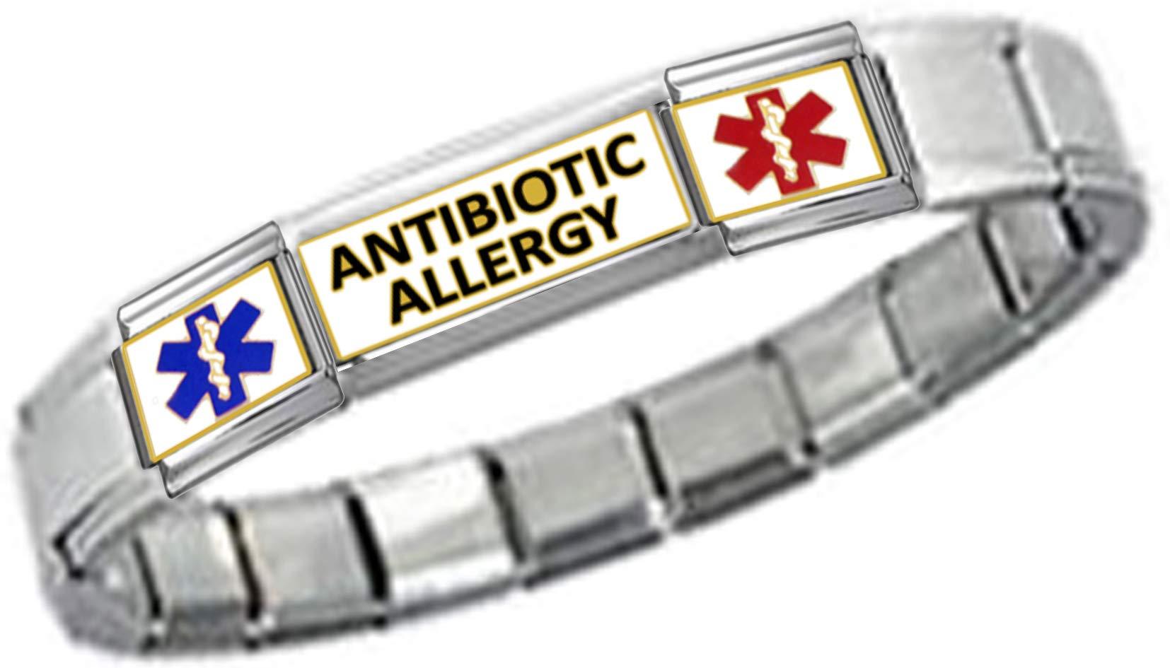 Stylysh Charms Antibiotic ID 9mm Link Silver Tone Shiny Bracelet
