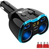 USB C Car Charger, Cigarette Lighter Splitter Adapter 2 Socket Type C Multi Power Outlet 12V/24V 80W DC with LED Voltmeter Sw