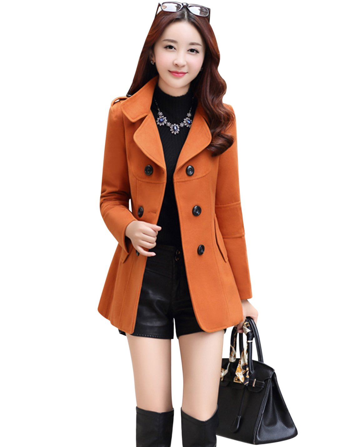 Tanming Women's Double Breasted Wool Blend Pea Coat (Large, Orange)