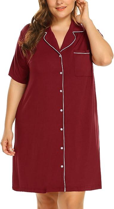 Womens Plus Size Nightshirt Short Sleeves Pajama Button Down Top Boyfriend Shirt  Dress Nightie Sleepwear(16W-24W) 23edb32c7