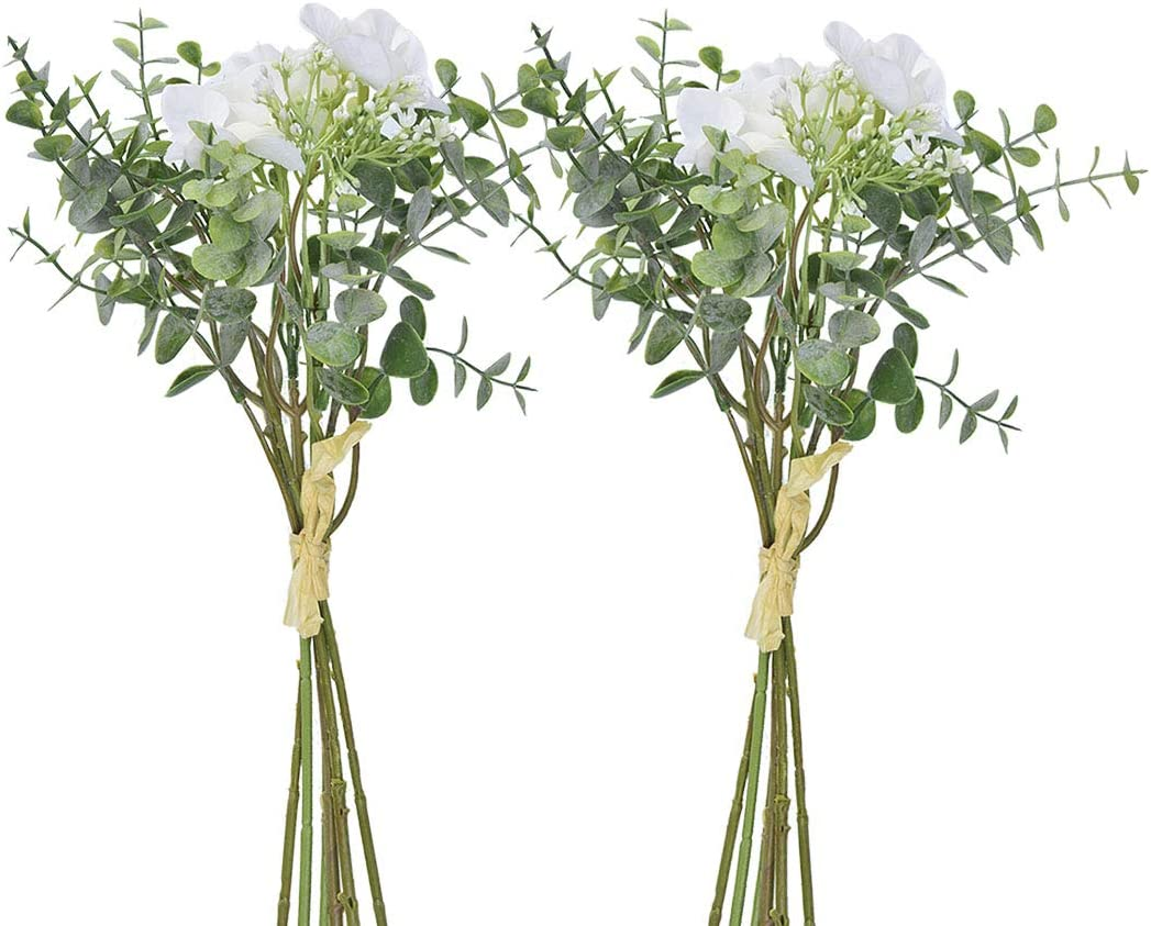 Anna Homey Decor Pack of 2 Bundles Artificial Flowers bouquet Baby's Breath Eucalyptus Leaves Silk hydrangea Orchid Real Touch Fake plants for Wedding,Party,Home,office Table Decor Centerpieces(White)