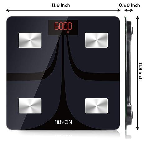 ABYON Báscula digital Bluetooth para peso y grasa corporal - analizador de composición corporal con aplicación de teléfono celular, inalámbrica digital, ...