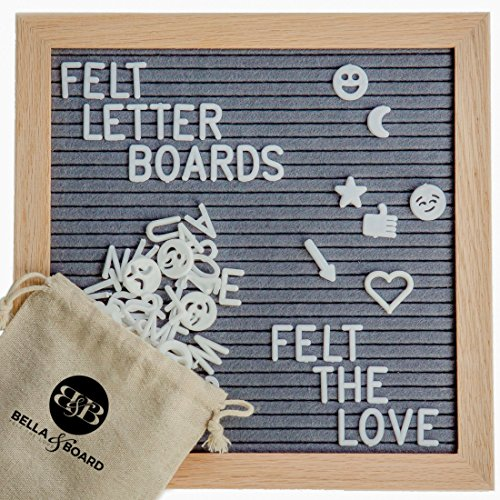 Bamboo Felt Letter Board (Gray) 10X10 Inches by Bella & Board | FREE Letterboard Stand | Changeable Message Boards Include 340 White Letters, Symbols & Emojis | Letter Bag & - Bella Frames
