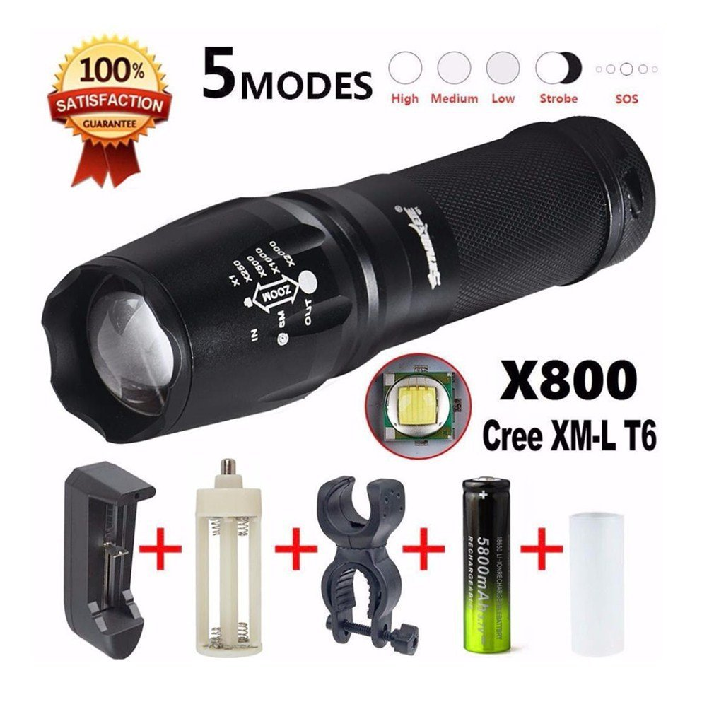 Iuhan® Fashion G700 LED Zoom Flashlight X800 Military Lumitact Torch 18650 Battery Charger
