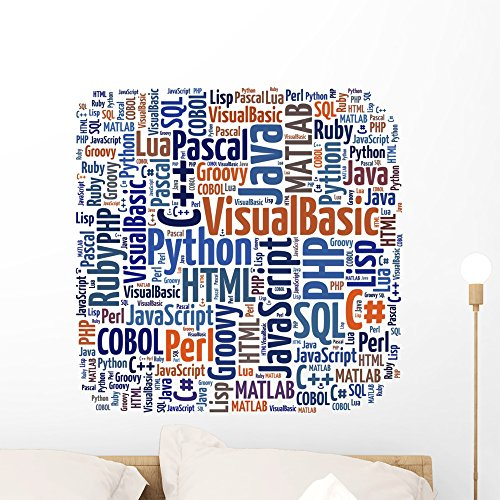 Wallmonkeys Word Cloud Programming Languages or It Related Wall Decal Peel and Stick Graphic WM133928 (24 in W x 24 in H) (Best Programming Language For Database Applications)