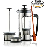 Espro Press P5 - French Press Coffee Press with Thick & Durable SCHOTT Duran glass + Bonus Wooden Stirring Spoon (with Coffee Filter, 32 oz)