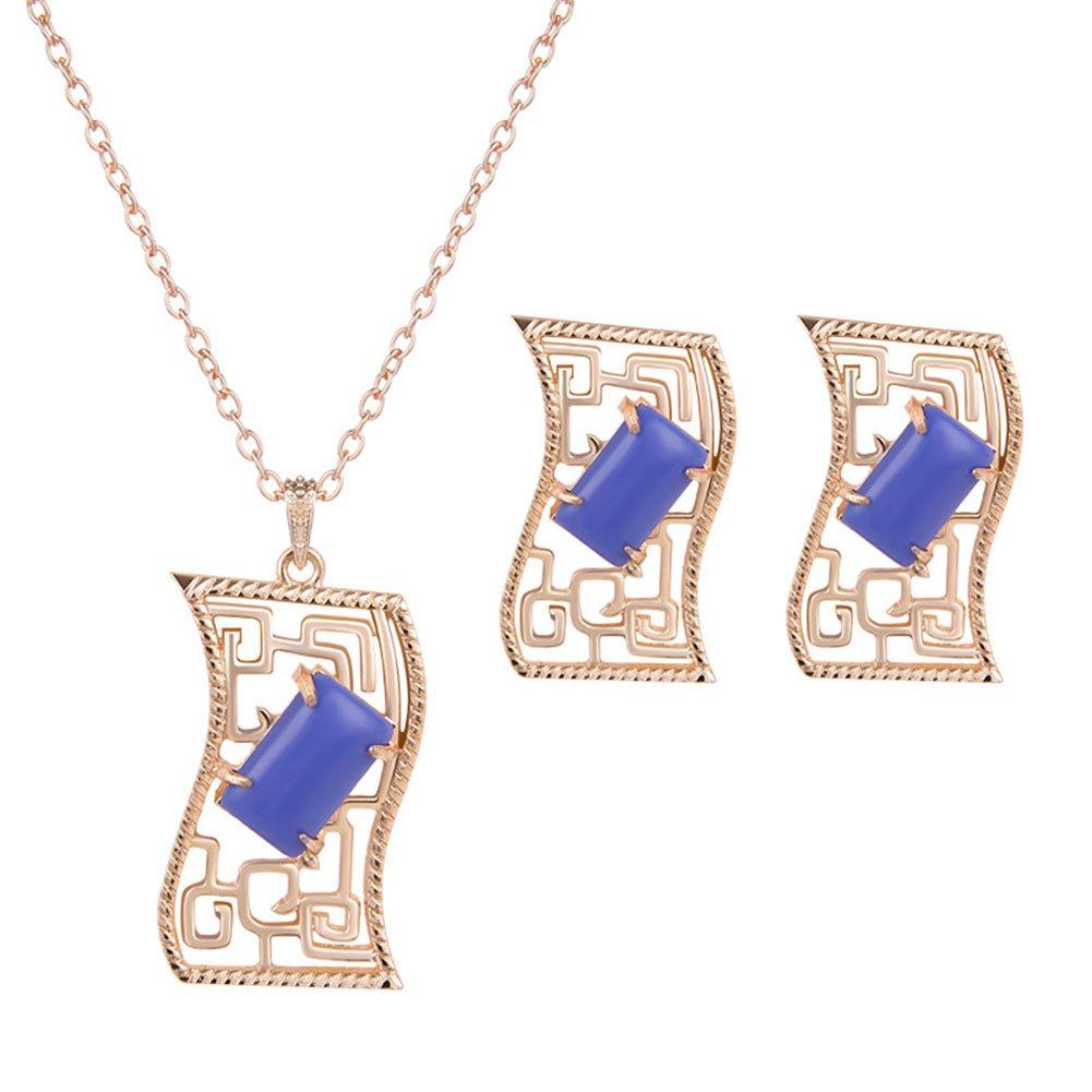 Fansi 2Pcs/Set Femmes Bijoux Vintage Collier exagéré Pull Collier chaîne clavicule Pendentif Boucles d'oreilles Ensemble (Blanc)