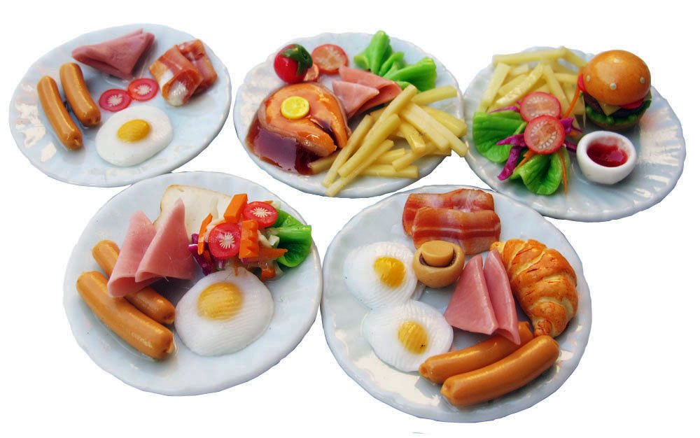 Mixed 5 Assorted Breakfast Sausage Dollhouse Miniature Food, Barbie Food Sets,Barbie Collectibles