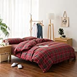 Luxury Red Plaid Cotton Duvet Cover Set Queen Modern 3 Piece Girls Bedding Set Reversible Duvet Comforter Cover Set Hotel Quality Spring Summer Bedding Collection 1 Duvet Cover 2 Pillowcases