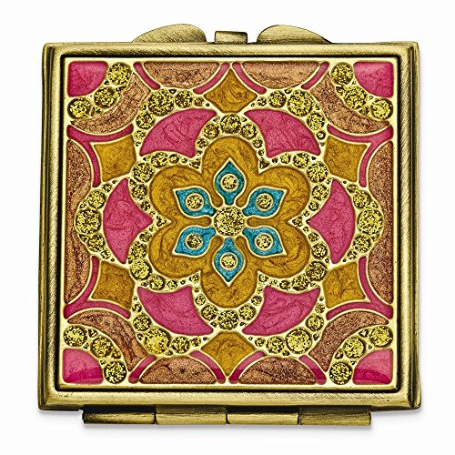ICE CARATS Gold Tone Enameled Compact Mirror Woman Pill Box Lipstick Holder Fashion Jewelry Gifts for Women for Her ()