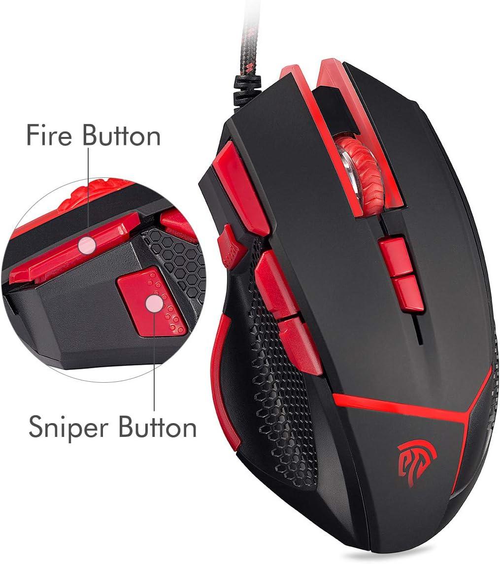 EasySMX Ratón Gaming, V18 Gaming Mouse Óptico 4000 dpi LED Luz 9 Botones (Fire/Sniper Botón) con Pesa para PC y Laptop (Negro) para Jugadores