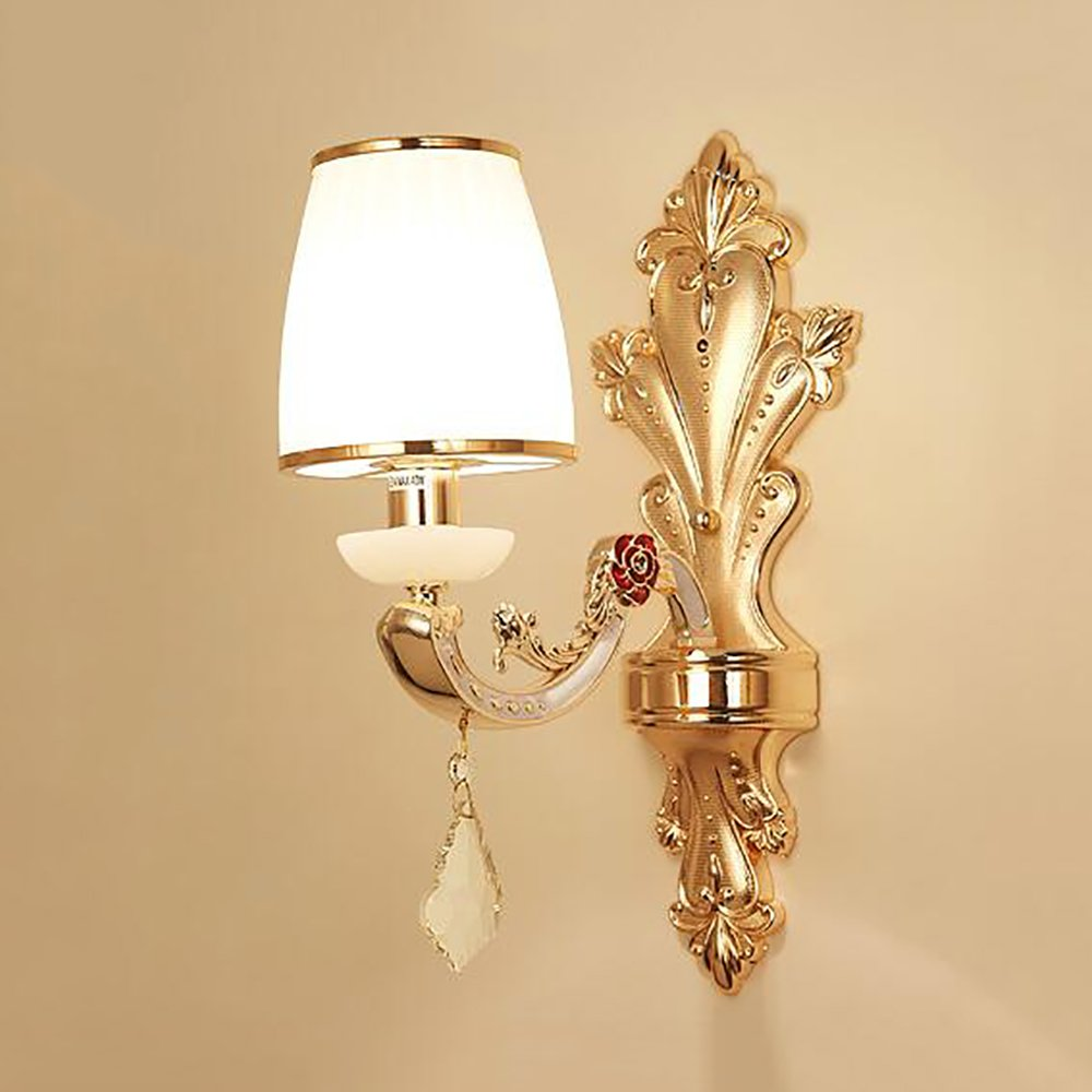 JIE KE European Crystal Wandleuchte Wohnzimmer Hintergrund Wandleuchte Schlafzimmer Nachttischlampe Zink-Legierung Treppenhausgang Beleuchtung Kreative Wandleuchte (Farbe   Single head)