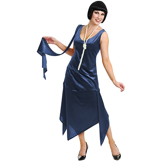 Plus Size Vintage Dresses, Plus Size Retro Dresses Sandy Speak Easy 1920s Great Gatsby Flapper Costume - Blue $65.22 AT vintagedancer.com