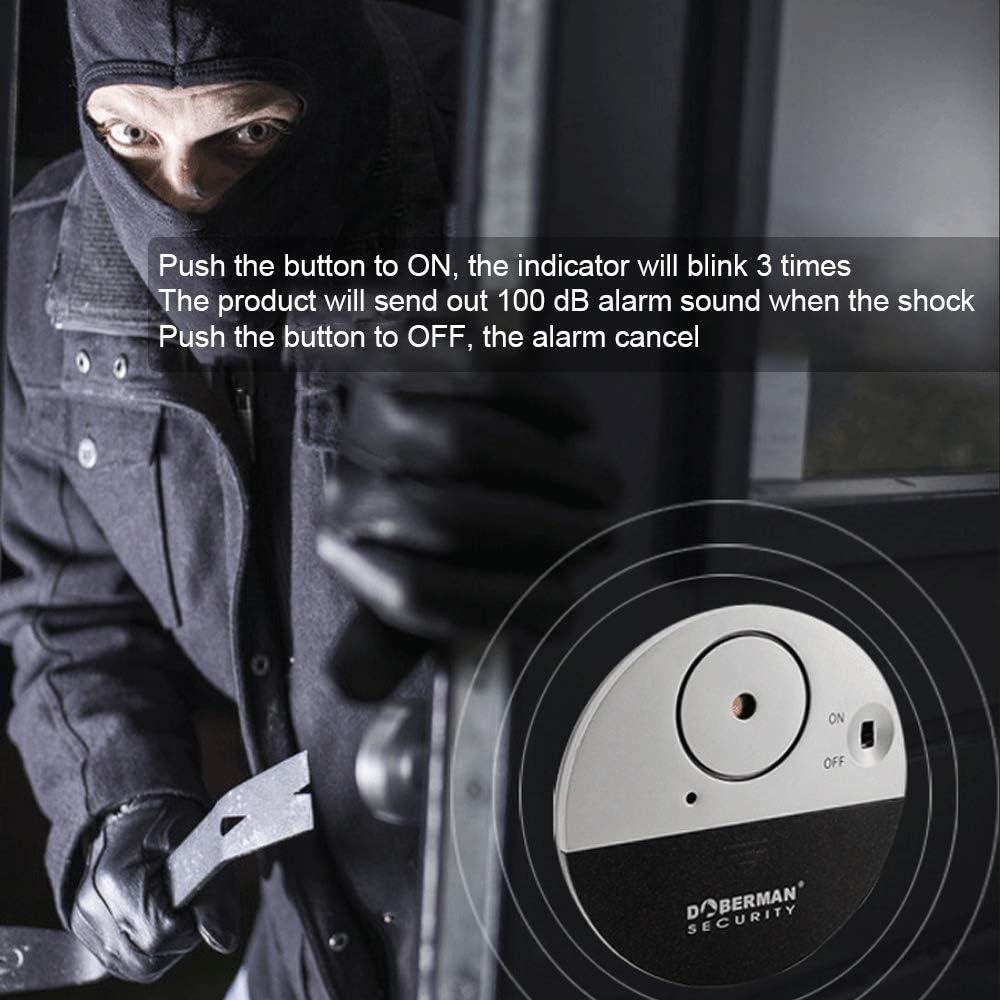 RanRotoy Dispositif dalarme de fen/être D/étecteur de fen/être Alarme de s/écurit/é Capteur de Porte Alarme Forte 100dB Alarme Capteurs de Vibration Installation Facile Universelle pour s/écurit/é des VR