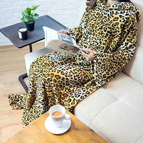 PAVILIA Premium Fleece Blanket with Sleeves for Adult, Women, Men | Warm, Cozy, Extra Soft, Microplush, Functional, Lightweight Wearable Throw (Cheetah, Kangaroo Pocket)