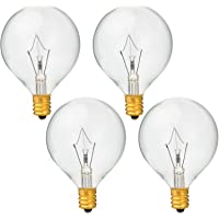 4 Pack 40 Watt G50 Light Bulbs for Full-Size Scentsy Warmers,G16.5 Globe E12 Incandescent Candelabra Base Clear Light Bulbs for Candle Wax Warmer