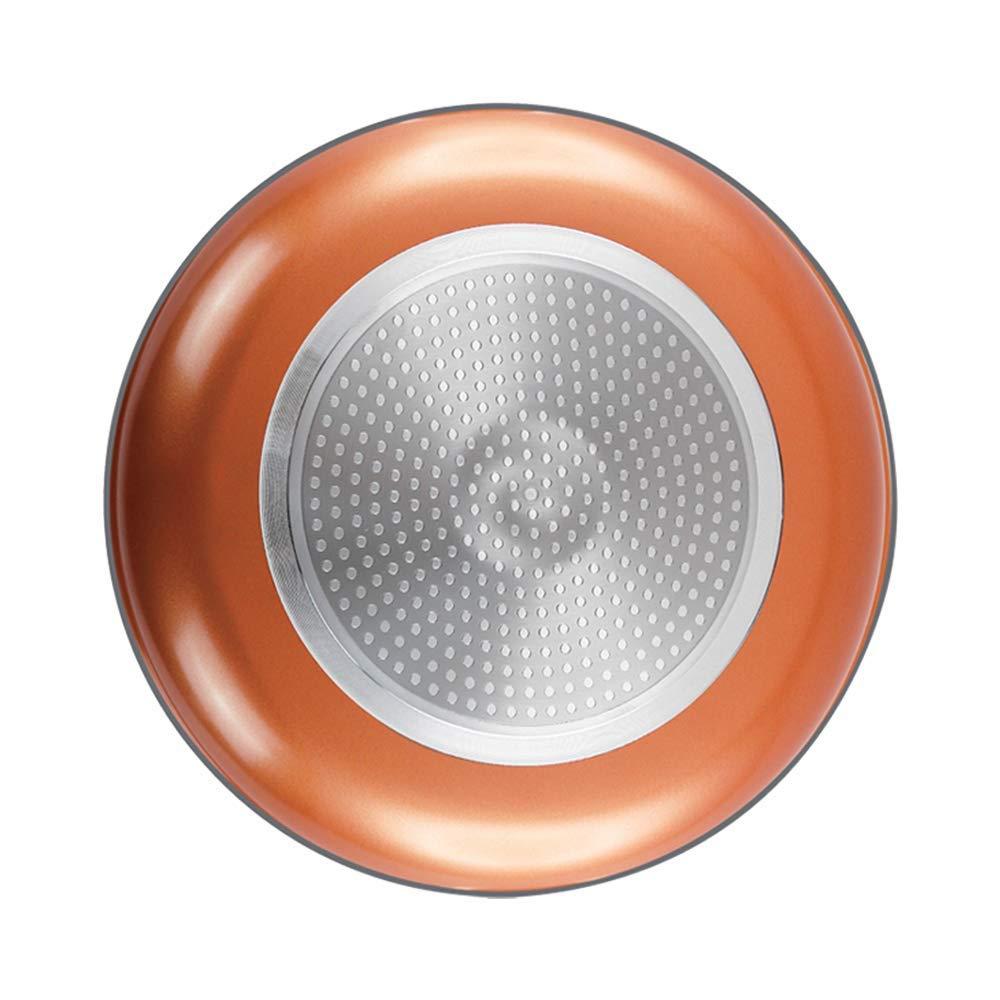 Sartén de cobre de 14 pulgadas con tapa, cazuela de wok con tapa Base de inducción antiadherente de cerámica de 14 pulgadas con tapa de vidrio para ...