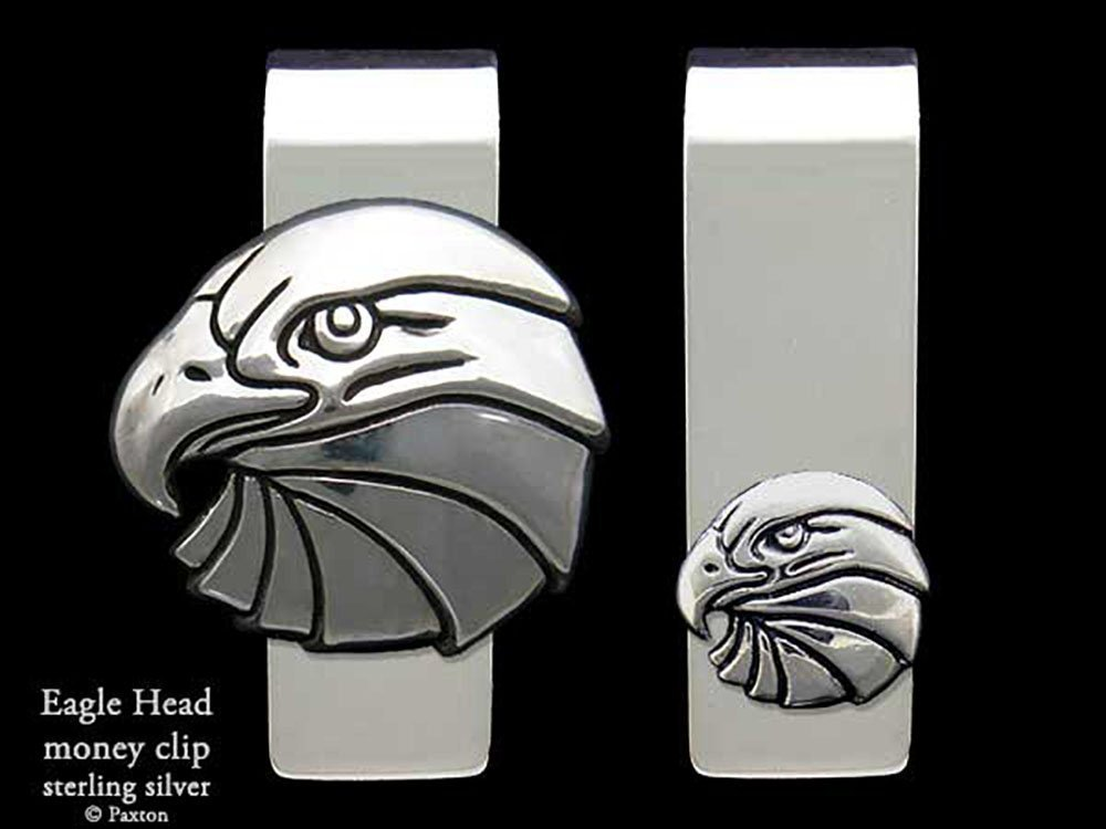 Eagle Head Money Clip in Solid Sterling Silver Hand Carved, Cast & Fabricated by Paxton