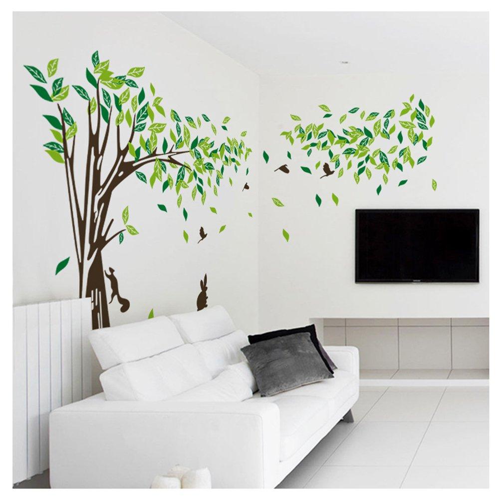 Woodland Giant Tree Wall Decals with Rabbit Bird Art Sticker Decals Kids' Room Nursery Decor Home Kuke