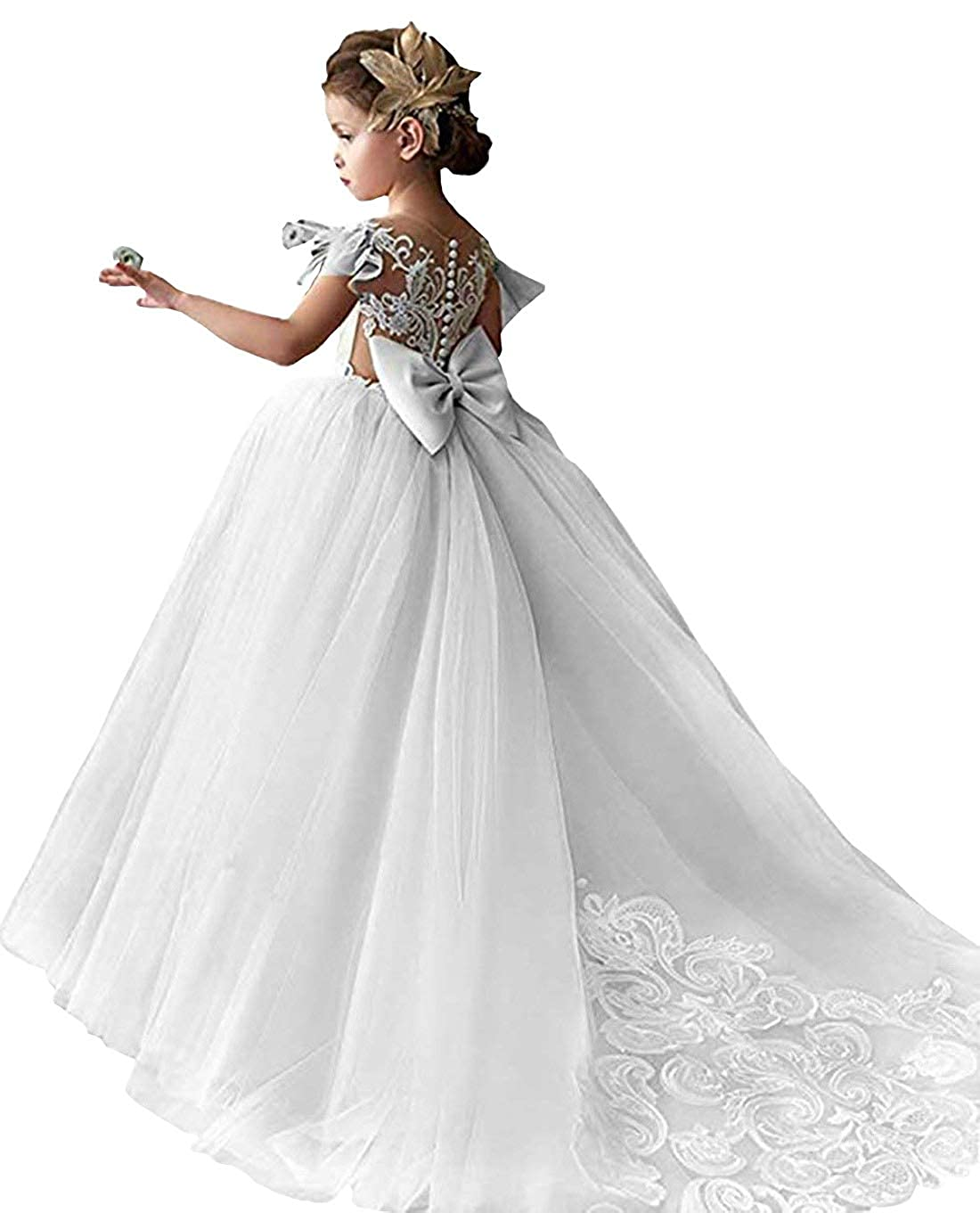 c76bfc17505 Amazon.com  Magicdress Champagne Lace Flower Girl Dresses for Wedding Prom  Party Ball Gowns for Kids  Clothing