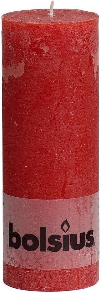 Bolsius RUSTIK Bougies 190/x 68/mm Rouge