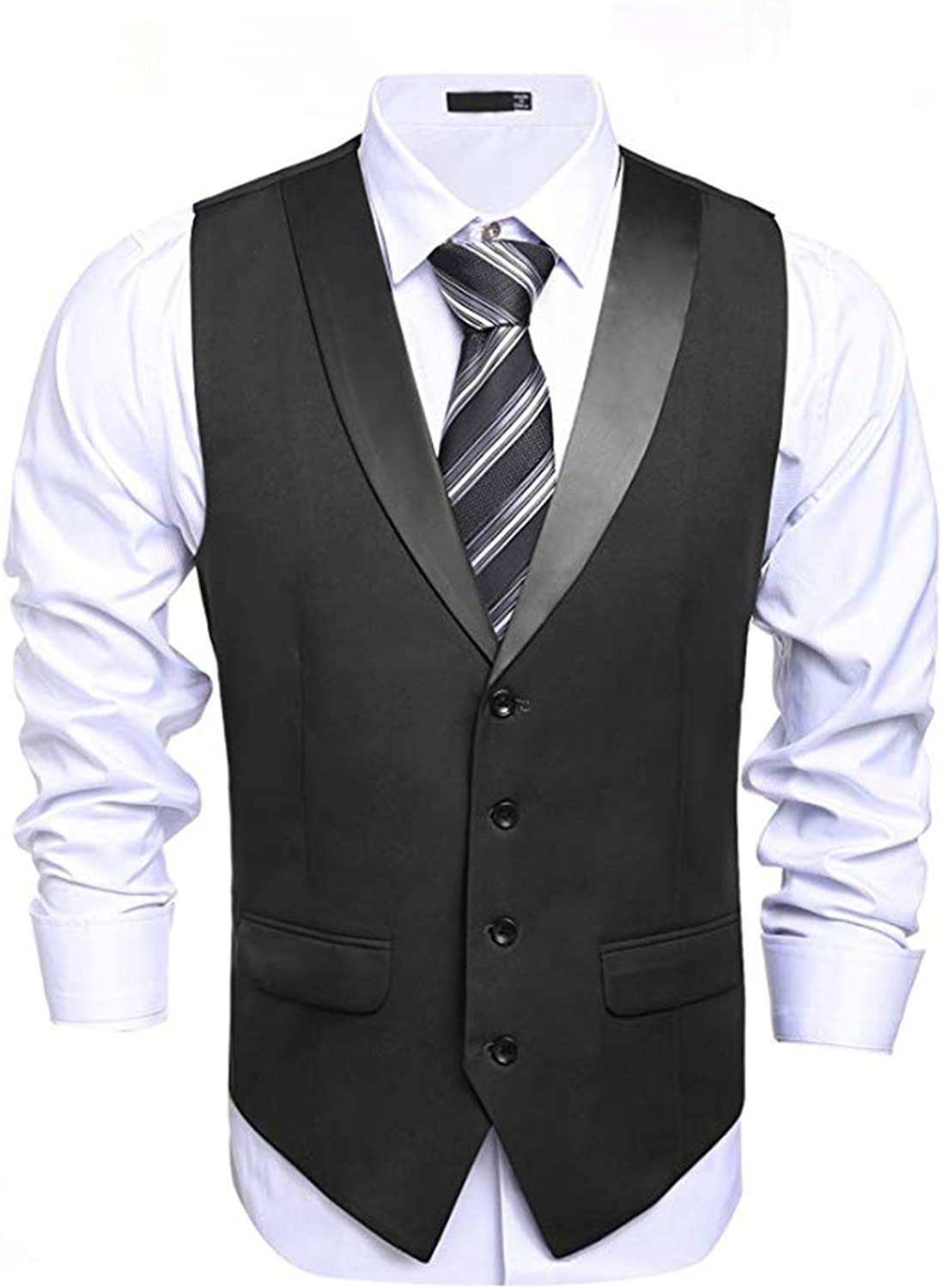 Houshelp Mens Vintage Suit Standing Collar Slim Fit Leisure Double-Breasted Blazer Business Wedding Party Jacket